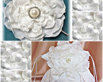 White satin bridal wedding purse and rose flower hair pin - READY TO SHIP
