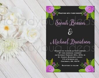 Purple and black Printable Wedding Invitation in Spanish. Invitación de boda para imprimir. Invitación digital. Invitaciones digitales boda