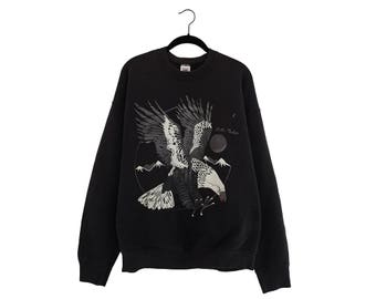 Vintage Full Moon Eagle Flying Over The Forest Lake Tahoe 50/50 Poly-Cotton Blend Black FTL Sweatshirt, Made in USA - XL