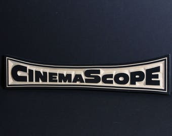 CinemaScope | 3-D Wooden Retro Home Theater Sign | Classic Cinema | Drive-In Theater