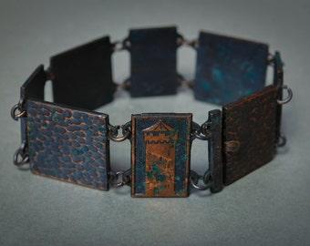 SALE Vintage solid copper bracelet, old city darkpatina