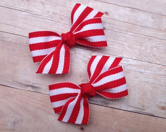 Red & white striped pigtail bows, red striped bows, toddler bows, pigtail bows, baby bows, small bows, girls hair bows, red bows, hair bows