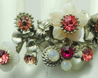Silver Flower Branch Ring/White/Rhinestone/Pink/Opal/Gift For Her/Summer Jewelry/Adjustable/Under 20 USD