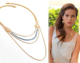 Long statement necklace, Long necklace, Statement necklace, Long layered necklace, Layered and long, Long layered necklace, Elegant necklace