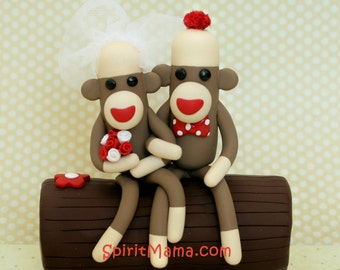Bride and Groom Sock Monkey Wedding Cake Topper on a Tree Log