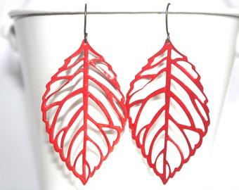 Red Leaf Earrings, Boho Earrings, Lighweight Earrings, Fall Jewelry, Handpainted Earrings