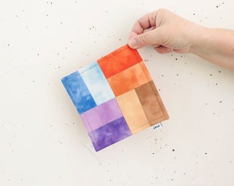 mug rug handmade small placemat cup of a tea blue orange violet brown
