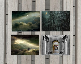 Landscape Photographs Night Sky Art Black Cat Photo Spooky Wall Decor Set of Four 5x7 inch Fine Art Photography Prints The Dark Shadows