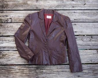 HIGH SIERRA Vintage Oxblood Real Leather Blazer