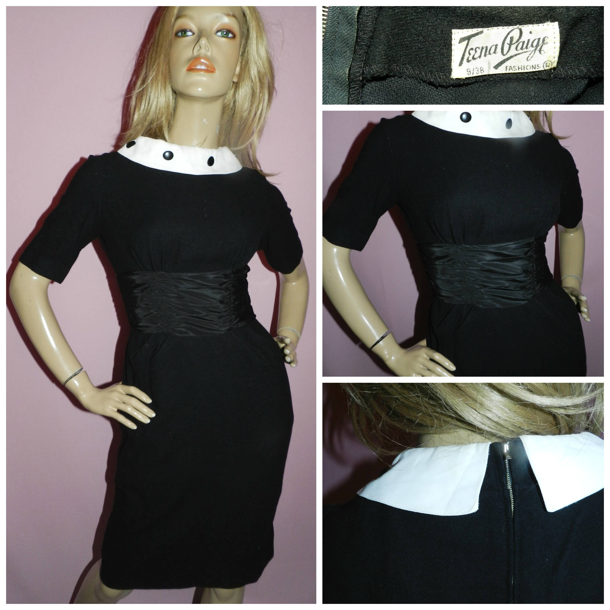Vintage 1950s Black White CONTRAST COLLAR Cocktail dress 8 S 50s ...