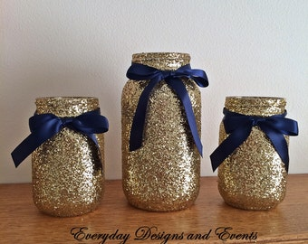 Mason Jars, Navy Gold, baby shower ideas, baby shower decorations, wedding, wedding decorations, wedding centerpieces, party supplies, decor