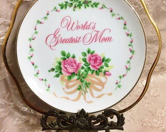World's Greatest Mom • Vintage Floral Repurposed China Mother's Day Wall Art Plate • Love • Family