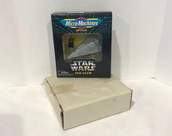 Vintage Star Wars Micro Machines Darth Vader figure with Imperial Star Destroyer Fan Club Mail NIP.