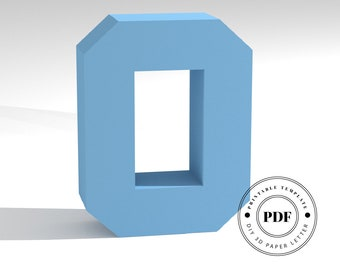 Printable DIY template (PDF).  Letter O low poly paper model template. 3D paper lettering. Origami. Papercraft. Cardboard alphabet.