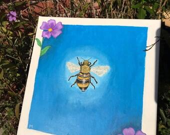 Cute Acrylic Bee Painting