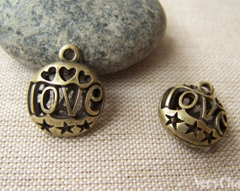 Antique Bronze 3D Heart Pendants Hollow Out Charms 16mm Set of 6 pcs A1819