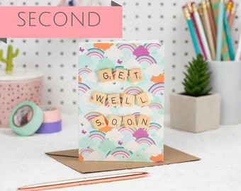 SECONDS Get Well Soon Card, Scrabble Inspired Greetings Card | Claireabellemakes