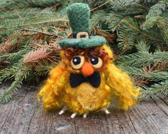 Needle Felted Owl, Leprechaun Owl, St. Patrick's Day Decor, Irish Owl, OOAK Soft Sculpture, Owl Ornament, Paddy O' Hoot