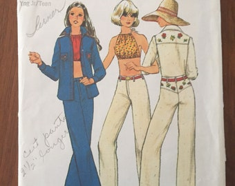 Vintage Simplicity 6400 Halter Top, Shirt, and Jeans • size 5-6