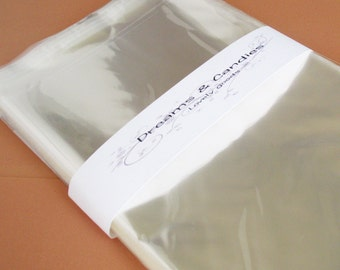 100- 5 3/4x8 3/4 Resealable Clear Cello Bags -Transparent Cello Bags -Self Adhesive Cello Bags -Food Safe Cello Bags -Clear Cellophane Bags