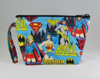 Super Women Blue Makeup Bag - Accessory - Cosmetic Bag - Pouch - Toiletry Bag - Gift
