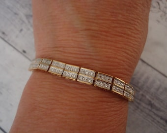 Vintage 2-Tone Gold and Silver Sterling Tennis Bracelet, 7 1/4""