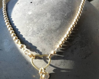 Failed ball chain (3 mm)/gold filled/spring/zircon/Heart/single piece/hand work/gift for you/46 cm/adaptable/combinable