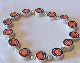 Polymer Clay Spiral Bead Bracelet