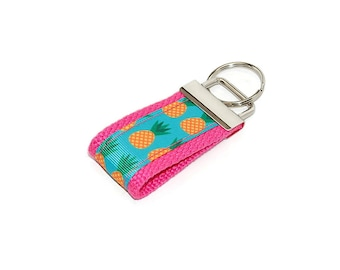 Mini Pineapple Keychain  | Finger Key Fob Bag tag with Pineapples in Pink and Aqua | Great group gift
