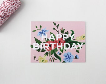 Greeting Card - Happy Birthday Floral - Floral card - Note - Card - Birthday - Celebration - Vintage Floral - Handpainted