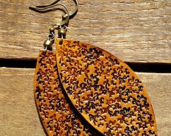 Leather leaf earrings, gypsy boho earrings