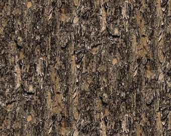 Brown, Tan, Tree Bark Fabric, Northcott, Naturescapes, 21398-34 (By YARD)~