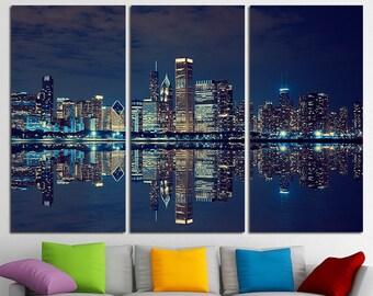 Chicago Skyline Large Canvas Print Wall Art USA Wall Art Chicago Canvas Art Chicago Wall Art Chicago Multi Panel Canvas Print Skyline Poster