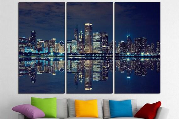 & Chicago Skyline Large Canvas Print Wall Art USA Wall Art
