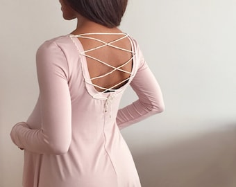 Long Sleeve - Scoop Neck - Pink - Maternity Top - Lace Up Back - Comfortable Bamboo Tee - Maternity Shirt -Flared Tee Shirt-Rose Lace Up Tee