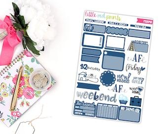 Navy Blue Functional Sampler Number 2, Planner Stickers for the Erin Condren Life Planner, Sampler Sheet - [FS0040]
