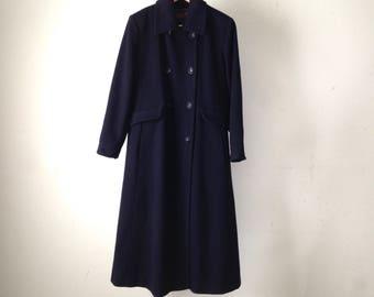 vintage PENDLETON navy blue pea COAT military style WOOL long winter jacket