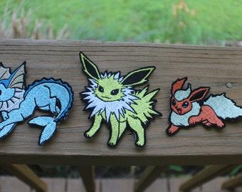 """Pokemon Eeveelution Eevee Flareon Jolteon Vaporeon 4"""" iron-on patch set 1"""