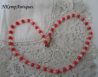 Coral glass bead necklace
