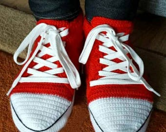 crochet converse slippers with leather soles women red house shoes