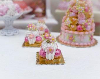 Pink Flower St Honoré - Miniature French Pastry in 12th Scale