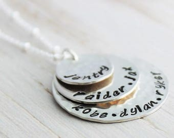 stacked names necklace, gift for grandma, mommy necklace, three name tags, 3 kids names, personalized names necklace