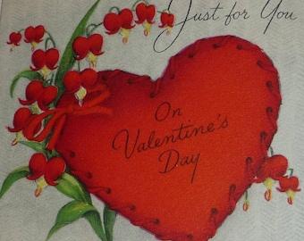 Vintage 1950s Bleeding Heart Flowers and Valentine Hallmark Card