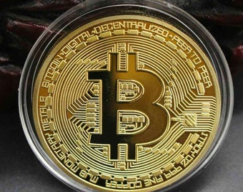 One Gold Plated 1oz Bitcoin Coin Free Shipping