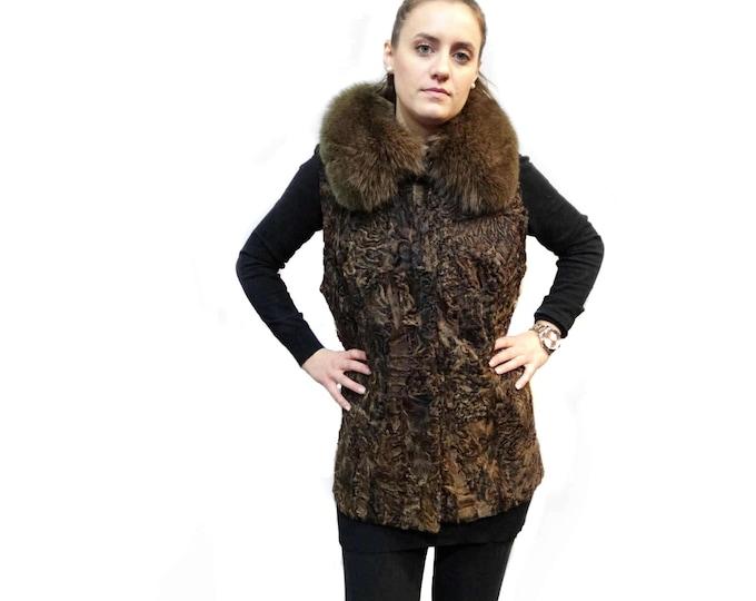 Real Fur Astrakhan-Karakul with Fox Collar Brown Vest F229