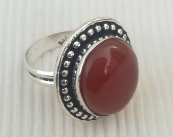 Handcrafted Ring - Gift Jewelry - Red Onyx Silver Ring - Wedding Gift Ring - Designer Ring Jewelry - Fashion Ring - Onyx Ring - DTR-1635