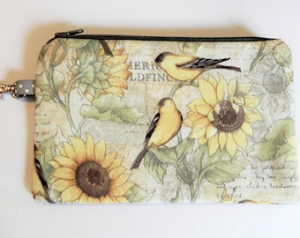 Notions Pouch, 2 Tone pouch, Birds and Sunflowers, Knitting notion pouch, crochet notion pouch