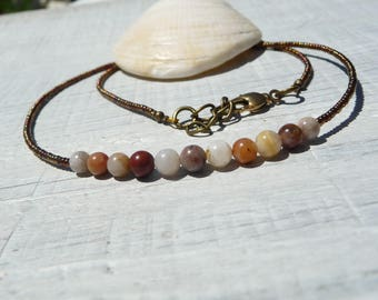 fall natural necklace, boho gemstones necklace, minimalist necklace, earthy agate necklace, nature  jewel lover gift