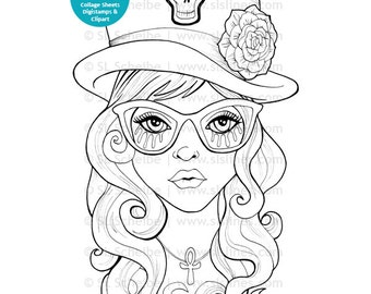 Goth girl digital stamp with top hat, cute goth digistamp instant download by SLSlines, coloring page