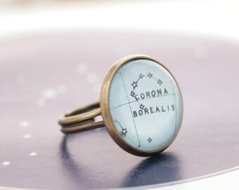 Cadeaux de vacances des univers astronomie bague étoiles Constellation bague ajustable pour femmes Corona Borealis Lovecraft bijoux bague d'espace cosmique